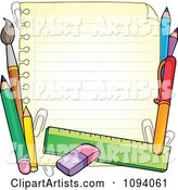 Border of School Supplies and Ruled Paper 1
