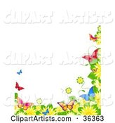 Border of Spring Flowers and Colorful Butterflies over a White Background