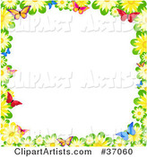 Border of Yellow Daisies and Colorful Butterflies over White