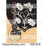 Bouzouki on a Tan and Black Background with Flowers and a Butterfly