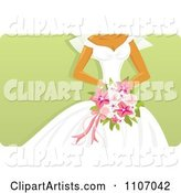 Bride Holding a Pink Bouquet over Green