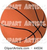 Brown Basketball with Black Lines