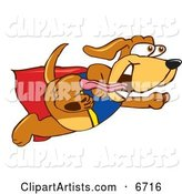 Brown Dog Mascot Cartoon Character Dressed As a Super Hero, Flying