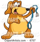 Brown Dog Mascot Cartoon Character Holding a Leash, Ready for a Walk