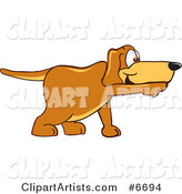 Brown Dog Mascot Cartoon Character Pointing While Sniffing Something out