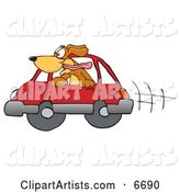 Brown Dog Mascot Cartoon Character Sticking His Head out of a Car Window