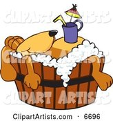 Brown Dog Mascot Cartoon Character with a Drink on His Belly, Taking a Bath