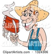 Buch Toothed Male Hillbilly Holding Juicy Bbq Ribs with Tongs