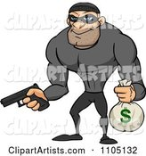 Buff Bank Robber Holding a Money Bag and Pistol