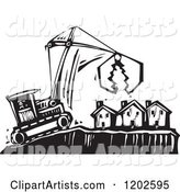 Bulldozer and Crane over Foreclosed Houses Black and White Woodcut
