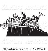 Bulldozer Pushing Money Bags off of a Cliff Black and White Woodcut
