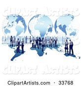 Business Men and Women Conducting Global Business over a Blue Map with a Grid Globe Background, over White