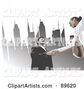 Business Woman and Man Shaking Hands Under Urban Skyscrapers