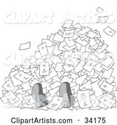 Businessman's Feet Poking out from Under a Stack of Paperwork, on a White Background