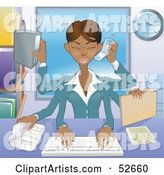 Busy Multi Tasking African American Assistant Secretary Woman Typing, Filing, Organizing and Taking Phone Calls