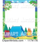 Camping Frame with a Tent and Fire on White