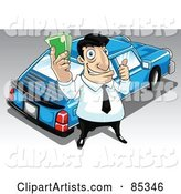 Car Salesman Holding Cash and Standing by a Blue Car