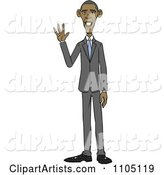 Caricature of Barack Obama Standing and Waving