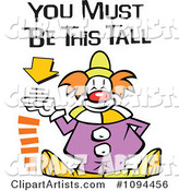 Carnival Clown Standing by a Height Sign with You Must Be This Tall Text