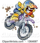 Cartoon Aggressive Man Jumping and Riding a Dirt Bike with Mud Splashing Everywhere
