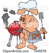 Cartoon Bbq Pig Wearing a Pig out Apron