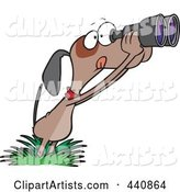 Cartoon Bird Dog Using Binoculars