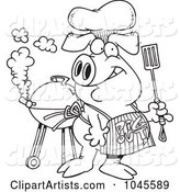 Cartoon Black and White Outline Design of a Bbq Pig Wearing a Pig out Apron