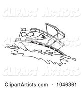 Cartoon Black and White Outline Design of a Pontoon Boat Character