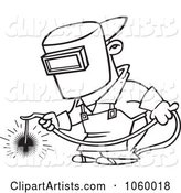 Cartoon Black and White Outline Design of a Welder at Work