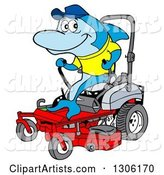 Cartoon Blue Shark Operating a Red Riding Lawn Mower