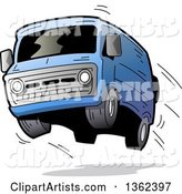 Cartoon Blue Van with Dark Window Tint, Catching Air and Flying off of the Road