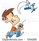Cartoon Boy Playing with a Remote Control Airplane