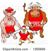 Cartoon Buff Bbq Chef Bull, Chicken and Pig Flexing Their Muscles