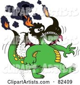 Cartoon Burning Green Dragon with His Tips on Fire