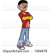 Cartoon Casual Black Teen Boy Standing with Folded Arms