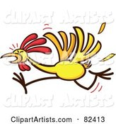 Cartoon Chicken Running and Losing Feathers