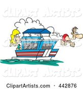 Cartoon Couple on Their House Boat
