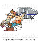 Cartoon Couple Relaxing at a Campsite near Their Tent Trailer