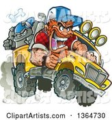 Cartoon Crazy Red Haired White Redneck Man Driving a Bulldog in a Pickup Truck