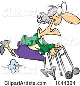 Cartoon Feisty Granny Running with a Walker