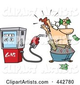 Cartoon Gas Pump Holding up a Customer