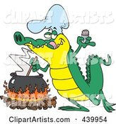 Cartoon Gator Making Soup