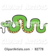 Cartoon Green Snake with His Back Arched