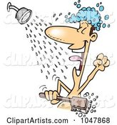 Cartoon Guy Singing in the Shower