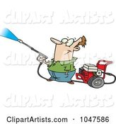 Cartoon Guy Using a Pressure Washer