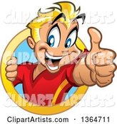 Cartoon Happy Blond White Boy Holding up a Thumb and Emerging from a Circle