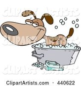 Cartoon Happy Dog Bathing in a Tub