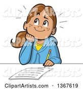 Cartoon Happy School Girl Resting Her Chin on Her Hand, Thinking and Writing an Essay
