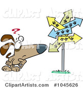 Cartoon Lost Dog Staring at Paw Print Signs