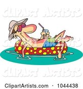 Cartoon Man Floating in an Inner Tube with a Beverage